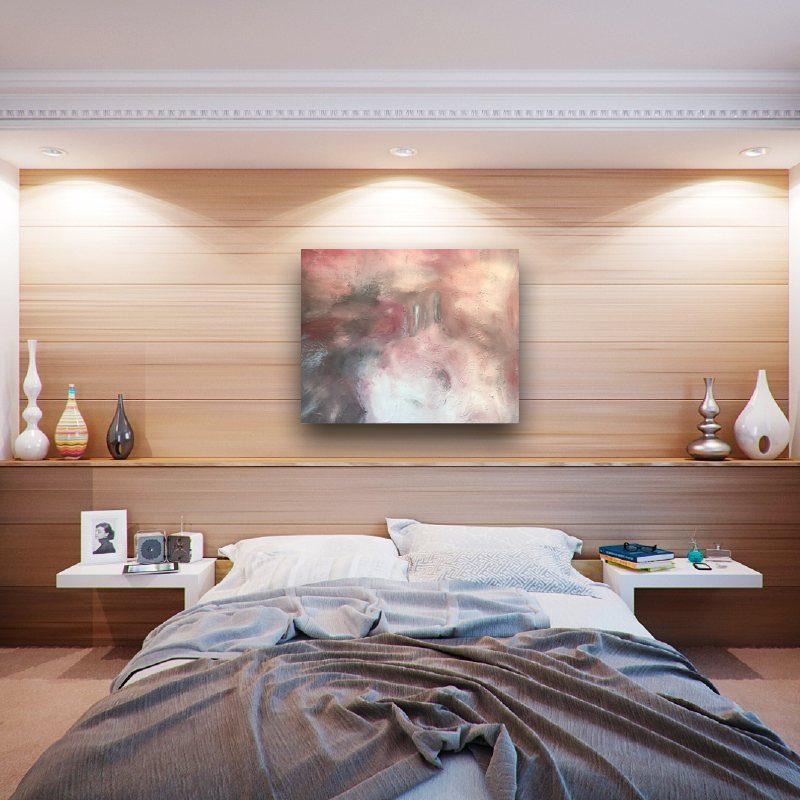 """Tableau abstrait acrylique sur toile 80 x 100 intitulé """"La tempête de sable rose"""""""