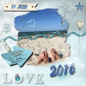 "Déco plumes : modèle de scrapbooking ""Life is better at the beach"""