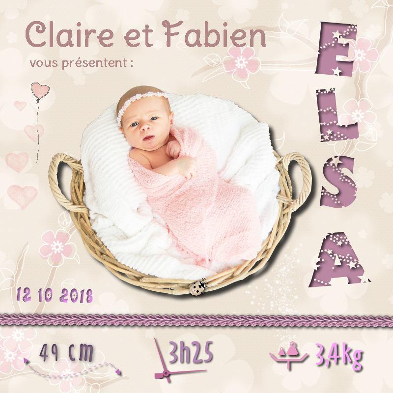 """Déco plumes : Faire-part de naissance digital """"Elsa"""""""