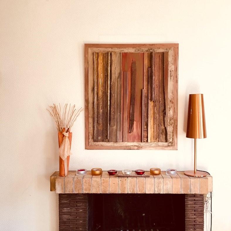 Décoplumes : tableau abstrait bois L72 x H82 cm