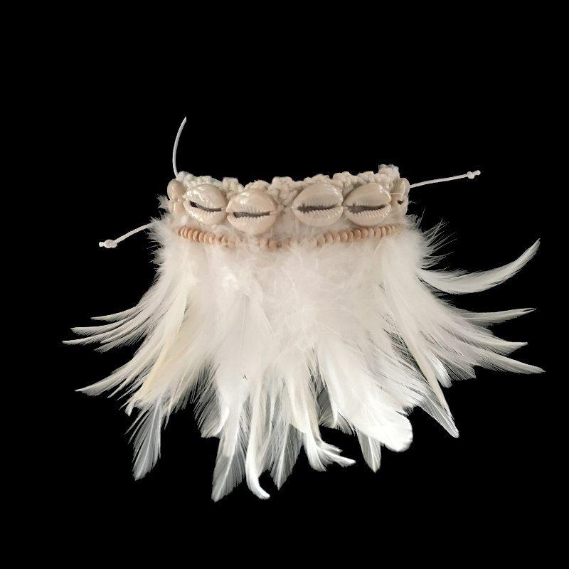 Bracelet de cheville plumes et coquillages