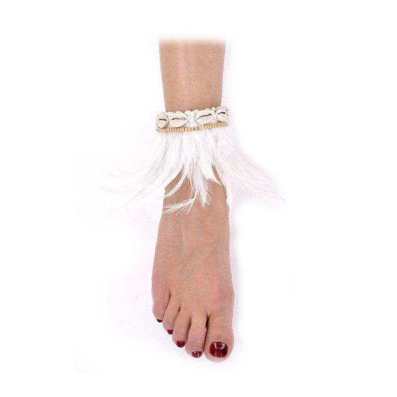 bracelet cheville plume