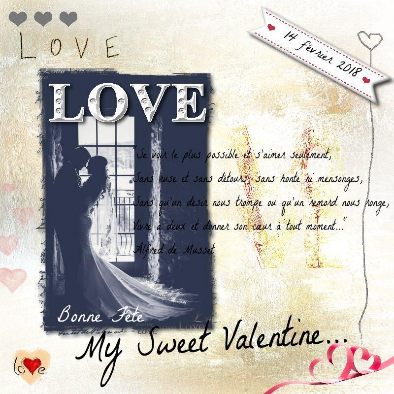 """Déco plumes : modèle de scrapbooking digital """"My Sweet Valentine"""""""