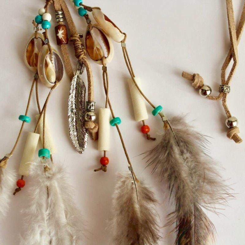 Déco plumes : collier composé de coquillages, plumes et breloques