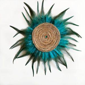 Décoration murale plumes et ficelle bleu turquoise