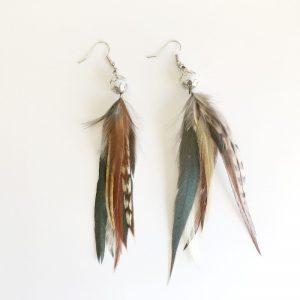 Boucles d'oreilles multiplumes et perle