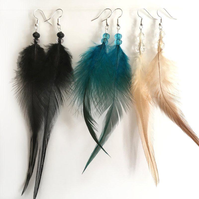 Boucles d'oreilles plumes et perles bleu, noir ou beige naturel