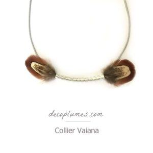 deco plumes : collier vahiana plumes naturelles et argent