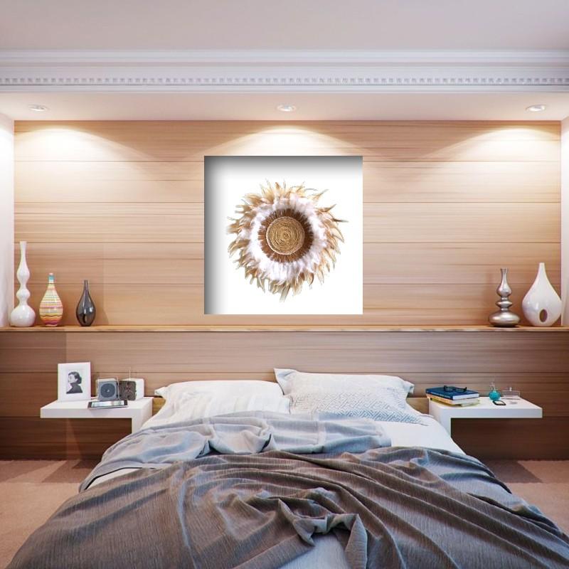 Déco murale façon juju hat plumes, bois, dentelle et corde 100% naturel